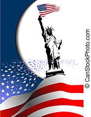 –, 合併した, image., ワシ, アメリカ人, 第4, 州, 旗, ベクトル, america., 7月, 日, 独立