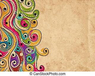 あなたの, グランジ, パターン, 抽象的, 手, 背景, 引かれる, 波, デザイン