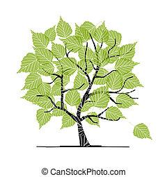 あなたの, デザイン, 木, 緑, シラカバ
