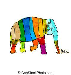 あなたの, 象, 面白い, デザイン, しまのある