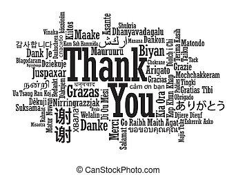 あなた, 多言語である, 単語, 感謝しなさい, 雲