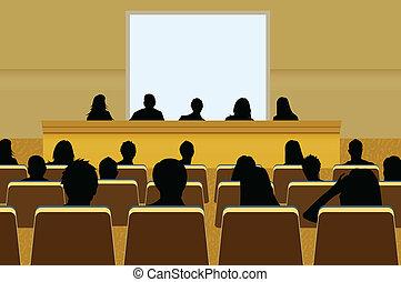 ∥あるいは∥, 付け加えなさい, 予測, 会議, ビジネス, テキスト, screen., 群集, あなたの, プレゼンテーション, 人, コピー, audience., プロダクト, ブランク, マーケティング, 前部