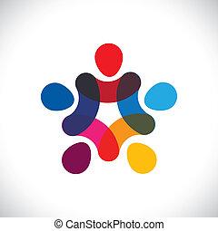 ∥あるいは∥, 共同体, カラフルである, 遊び, また, 円, 保有物, friendship-, 労働者, 団結, ベクトル, &, 手, graphic., 缶, 組合, 統一, 子供, これ, イラスト, 一緒に, 表しなさい, 概念, ∥など∥