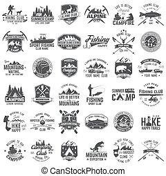 ∥あるいは∥, 切手, tee., 冒険, 極点, セット, ワイシャツ, badges., 概念, 印刷, ロゴ