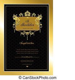 ∥あるいは∥, 招待, card., 金, 結婚式, v