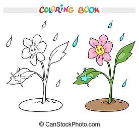 ∥あるいは∥, 花のヒナギク, page., rain., 着色, rejoices, 本