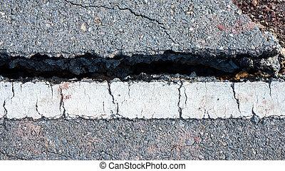 ある, ライン, 破壊された, 交通, 地すべり, 道