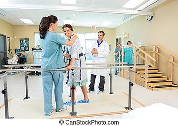 ある, 助けられる, セラピスト, 患者, 健康診断