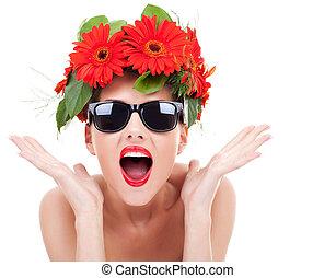 ある, 女, 興奮させられた, 花輪, 若い