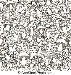 いたずら書き, きのこ, 黒, 白い背景, seamless, pattern.