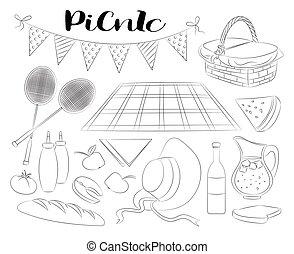 いたずら書き, セット, ピクニック