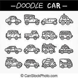 いたずら書き, セット, 漫画, 自動車, アイコン