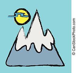 いたずら書き, ベクトル, 風景, 山