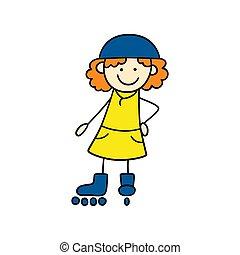 いたずら書き, 面白い, 女の子, 引かれる, かわいい, 少し手, drawing., イラスト, ローラー, skates., スタイル, ベクトル, 子供
