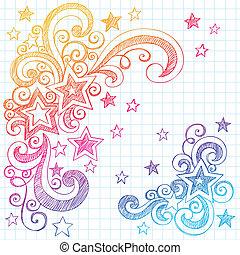 いたずら書き, sketchy, デザイン, 星, 要素