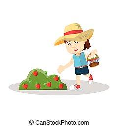 いちご, 女の子, 収穫する