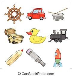 おもちゃ, イラスト, セット, 子供, ベクトル