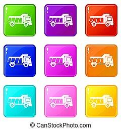 おもちゃ, セット, 9, アイコン, トラック