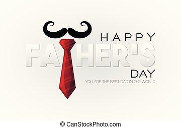 お父さん, スタイル, 切口, カード, 灰色, イラスト, 挨拶, 父, holliday, ペーパー, ベクトル, 赤い背景, hat., タイ, あなた, day!, world., 最も良く, 幸せ