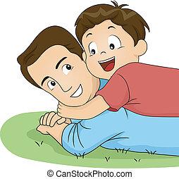 お父さん, 抱擁, 息子