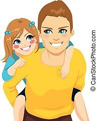お父さん, piggyback の 乗車, 娘