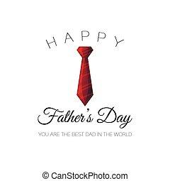 お父さん, tie., カード, 挨拶, イラスト, 父, holliday, ベクトル, 最も良く, 背景, 白, day!, world., あなた, 赤, 幸せ