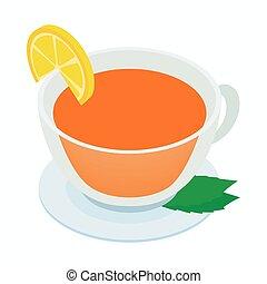お茶, ミント, アイコン, レモン, カップ