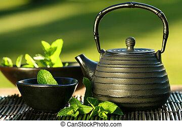 お茶, ミント, アジア人, ティーポット, 黒