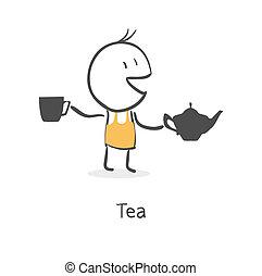 お茶, 人, 飲み物