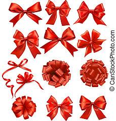 お辞儀をする, リボン, セット, 贈り物, ベクトル, 赤, 大きい
