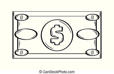 お金の 記号, ペーパー, ドル