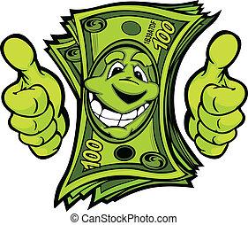 お金を与えること, の上, illustr, ベクトル, 親指, 手, 漫画, ジェスチャー
