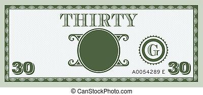 お金, イメージ, 手形, 30, ロゴ