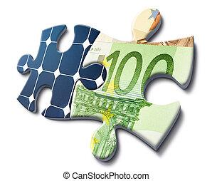 お金, エネルギー, セービング, 太陽