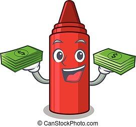 お金, クレヨン, 漫画, 赤, 袋