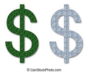 お金, ドル, きらめき, 印