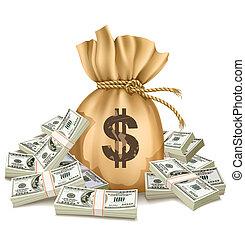 お金, ドル, 袋, パック