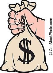 お金, ドル, 袋, 手を持つ