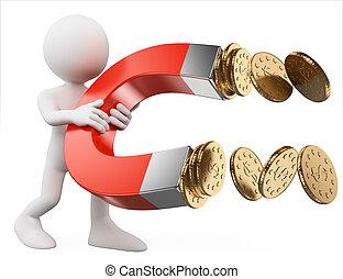 お金, 人々。, 磁石, 人, 白, 引き付けること, 3d