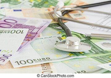 お金, 医学, 聴診器, 保険