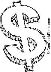 お金, 印, いたずら書き
