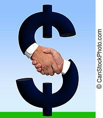 お金, 握手, 印