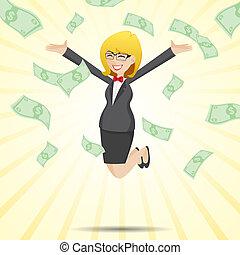 お金, 現金, 跳躍, 女性実業家, 漫画, 幸せ