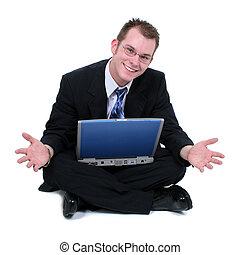 から, 人間が座る, ラップトップ, 床, ビジネスの手