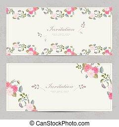 かわいい, ばら, 花の意匠, 招待, カード, 美しい, あなたの