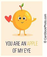 かわいい, アップル, 発言, ポスター, 明るい, 漫画