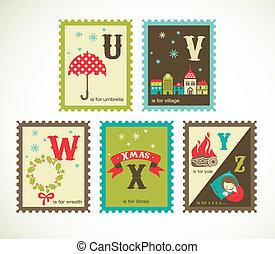 かわいい, アルファベット, レトロ, クリスマス, アイコン