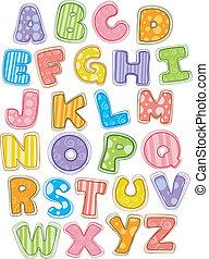 かわいい, アルファベット, 手紙, 資本