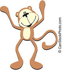 かわいい, サル, 幸せ