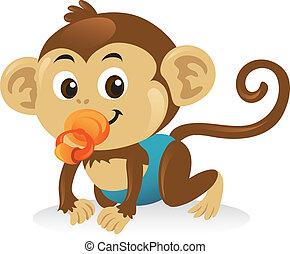 かわいい, サル, pose., 這う, おしゃぶり, 赤ん坊